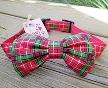 Red Plaid Christmas Dog Bow-tie Collars
