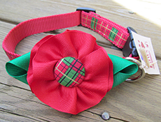 Red Plaid Christmas Flower Dog Collars